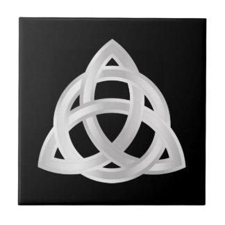 Original Celtic Triquetra Knot silver icon Tile