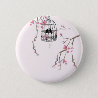Original cherry blossom birdcage artwork 2 inch round button