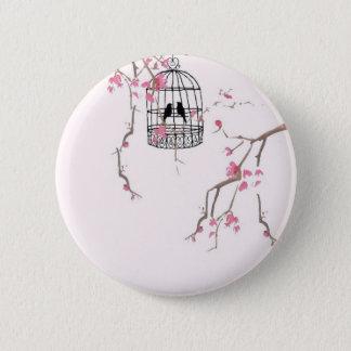 Original cherry blossom birdcage artwork 2 inch round button