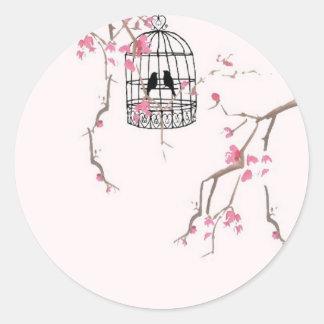 Original cherry blossom birdcage artwork classic round sticker