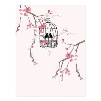 Original cherry blossom birdcage artwork postcard