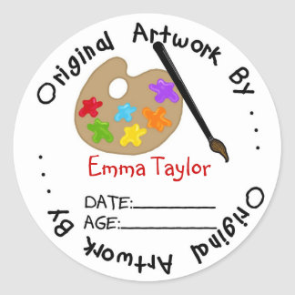 Original Childrens Artwork Stickers  Paint
