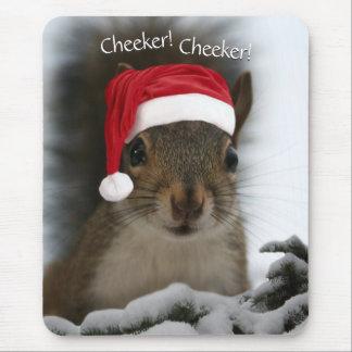 Original Christmas Santa Squirrel Wearing Hat Mouse Pad