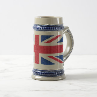 Original cross-stitch design Union Jack Beer Stein