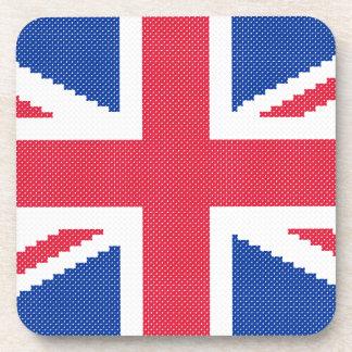 Original cross-stitch design Union Jack Coaster