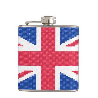 Original cross-stitch design Union Jack Hip Flask