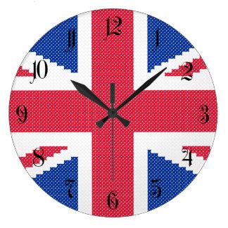 Original cross-stitch design Union Jack Large Clock