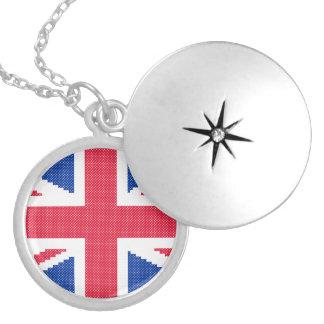 Original cross-stitch design Union Jack Locket Necklace