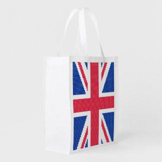 Original cross-stitch design Union Jack Reusable Grocery Bag