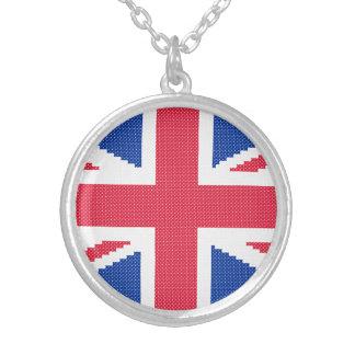 Original cross-stitch design Union Jack Silver Plated Necklace