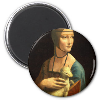 Original Da vinci's paint Lady with an Ermine 2 Inch Round Magnet