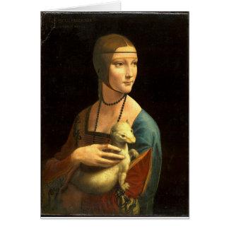 Original Da vinci's paint Lady with an Ermine Card
