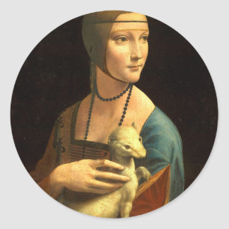 Original Da vinci's paint Lady with an Ermine Classic Round Sticker