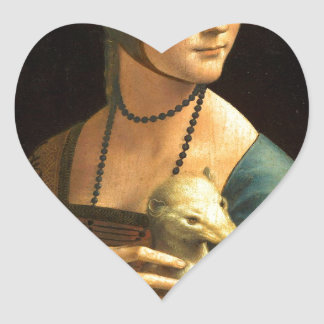 Original Da vinci's paint Lady with an Ermine Heart Sticker
