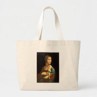Original Da vinci's paint Lady with an Ermine Large Tote Bag
