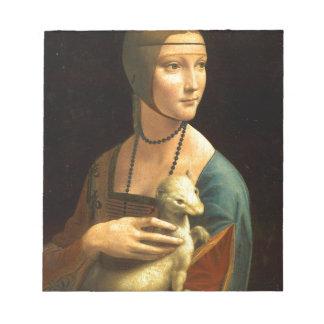 Original Da vinci's paint Lady with an Ermine Notepad