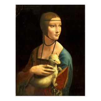 Original Da vinci's paint Lady with an Ermine Postcard