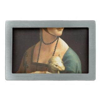 Original Da vinci's paint Lady with an Ermine Rectangular Belt Buckles