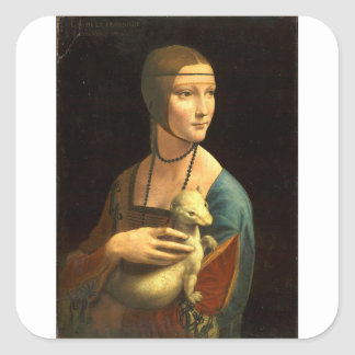 Original Da vinci's paint Lady with an Ermine Square Sticker