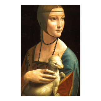 Original Da vinci's paint Lady with an Ermine Stationery