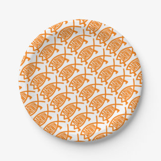 Original Darwin Fish (Light Orange) 7 Inch Paper Plate