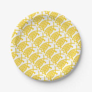 Original Darwin Fish (Mustard) 7 Inch Paper Plate