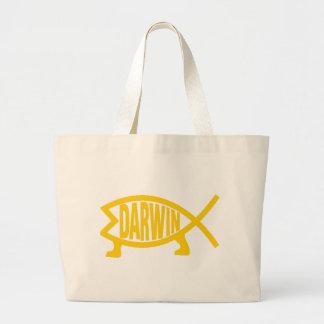 Original Darwin Fish (Mustard) Large Tote Bag