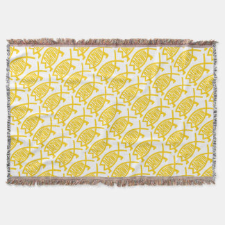 Original Darwin Fish (Mustard) Throw Blanket