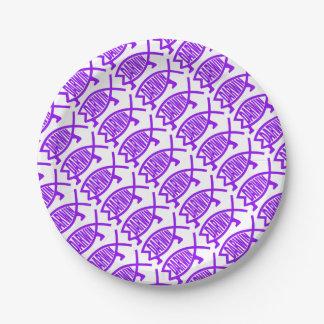 Original Darwin Fish (Purple) 7 Inch Paper Plate