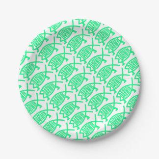 Original Darwin Fish (Seafoam) 7 Inch Paper Plate