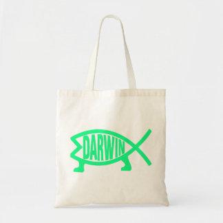 Original Darwin Fish (Seafoam) Tote Bag