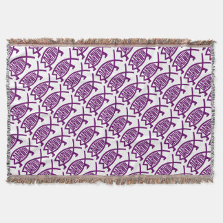 Original Darwin Fish (Violet) Throw Blanket