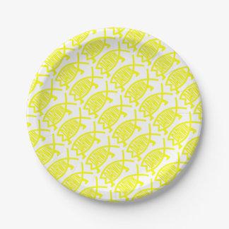 Original Darwin Fish (Yellow) 7 Inch Paper Plate