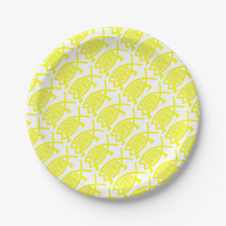Original Darwin Fish (Yellow) Paper Plate