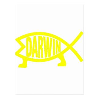 Original Darwin Fish (Yellow) Postcard