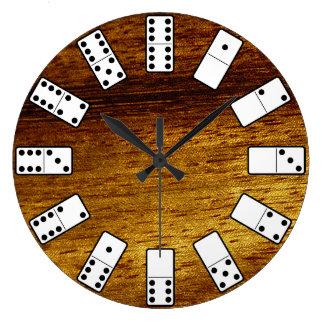 Original design Domino symbols on teak background Large Clock