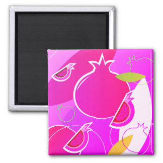 Original designers square button with pomegranate square magnet