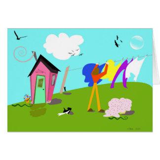 "Original digital artwork ""Laundry Helper"" Greeting Card"