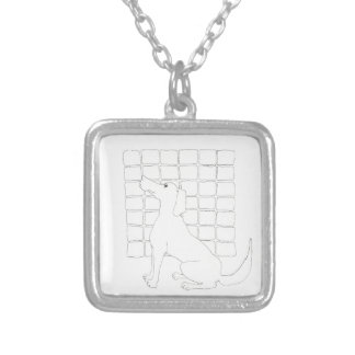 Original Dog Drawing Chinese Dog Year 2018 Square Silver Plated Necklace