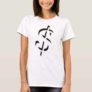 Original Dollar sign 3D black contour design style T-Shirt