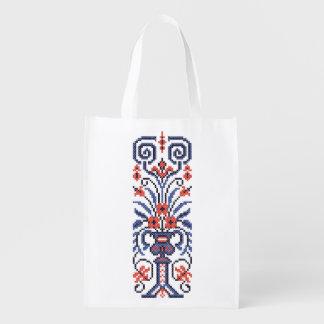 Original Elegant cross-stitch floral flower design Reusable Grocery Bag