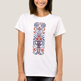 Original Elegant cross-stitch floral flower design T-Shirt
