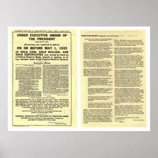 ORIGINAL Executive Order 6102 April 5 1933 Poster
