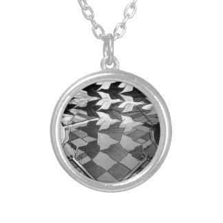 """Original famous draw """"day and night"""" silver plated necklace"""