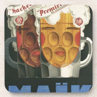 original French beer Art Deco Poster 1929 Coaster