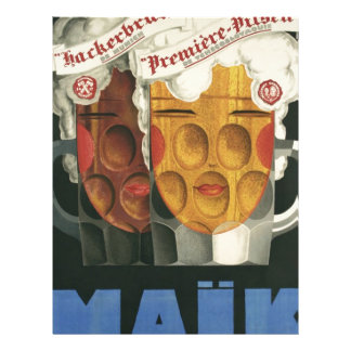 original French beer Art Deco Poster 1929 Letterhead