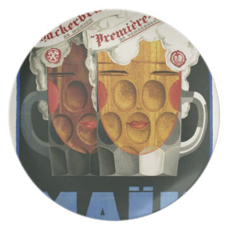 original French beer Art Deco Poster 1929 Plate