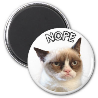 "Original Grumpy Cat Round Magnet ""NOPE"""