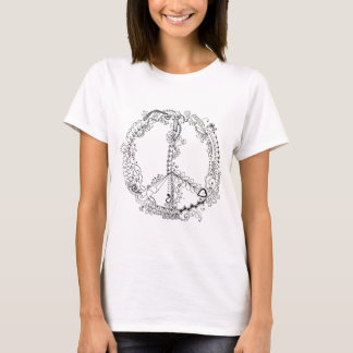 Original Hand Illustrated Artsy Floral Peace Sign T-Shirt