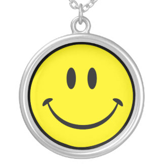 Original Happy Smiley Face Silver Plated Necklace